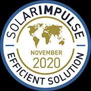 "Official Seal saying ""Solar Impulse Efficient Solution November 2020"""